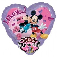 Foliový balonek Mickey a Minnie hrající srdíčko 74cm x 74cm