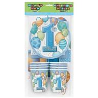 1.narozeniny party set 25ks modrý - kelímky a talířky