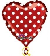 Balónek srdíčko červené s tečkami 43cm