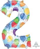 Balónky fóliové narozeniny číslo 2 motiv balónky 86cm