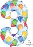 Balónky fóliové narozeniny číslo 3 motiv balónky 86cm