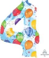 Balónky fóliové narozeniny číslo 4 motiv balónky 86cm