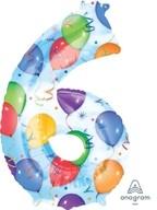 Balónky fóliové narozeniny číslo 6 motiv balónky 86cm