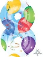 Balónky fóliové narozeniny číslo 8 motiv balónky 86cm