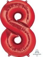 Balónky fóliové narozeniny číslo 8 červené 86cm