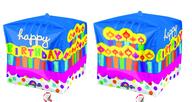 Foliový balónek narozeniny kostka 38x38x38 cm