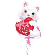 Balónek foliový kočička se srdíčkem Love You