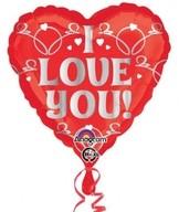 Balónek srdíčko I Love You 43 cm