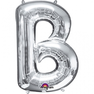 Písmena B stříbrné foliové balónky 58cm x 83cm