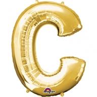Písmena C zlaté foliové balónky 63cm x 81cm