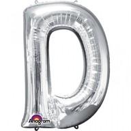 Písmena D stříbrné foliové balónky 60cm x 83cm