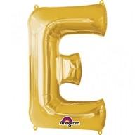Písmena E zlaté foliové balónky 53cm x 81cm