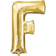 Písmena F zlaté foliové balónky 53cm x 81cm