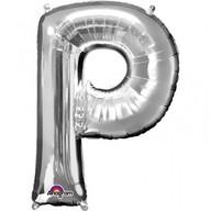 Písmena P stříbrné foliové balónky 60cm x 81cm