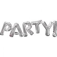 Foliové balónky stříbrné PARTY! 83cm x 22cm