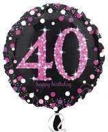 Balónek foliový 40. narozeniny Pink 43 cm