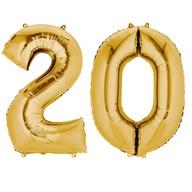 Balónky fóliové narozeniny číslo 20 zlaté 86cm