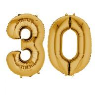 Balónky fóliové narozeniny číslo 30 zlaté 86cm