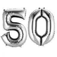 Balónky fóliové narozeniny číslo 50 stříbrné 86cm