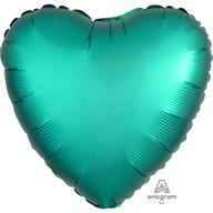 Balónek srdce foliové satén zelené 43 cm