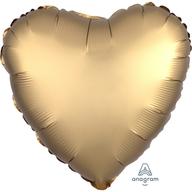Balónek srdce foliové satén zlaté 43 cm