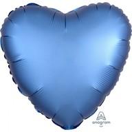 Balónek srdce foliové satén modrý
