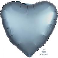 Balónek srdce foliové satén Steel Blue 43 cm