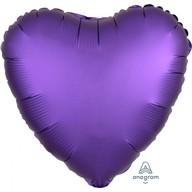 Balónek srdce foliové satén fialové 43 cm
