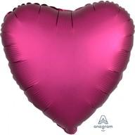 Balónek srdce foliové satén tmavě růžové