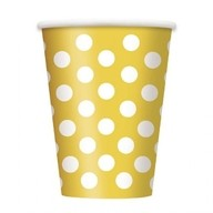 Kelímky žluto - bílé tečky 6ks 355ml
