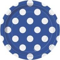 Talíře modro - bílé tečky 8ks 18cm
