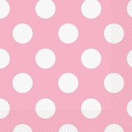 Ubrousky světle růžovo - bílé tečky 16ks