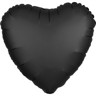 Balónek srdce foliové satén černé
