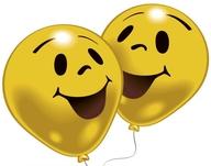 Balonky 10ks úsměv žluté, průměr 25,4 cm