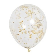 Balónky se zlatými konfetami 6 ks, 30 cm