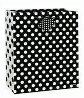 Taška na dárek černo - bílé tečky 18,5cm x 22,5cm