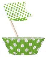 Košíčky na muffiny a vlajky 24 ks zelené tečky