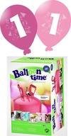 Helium Balloon time + balónky s číslem 1 růžové 30ks