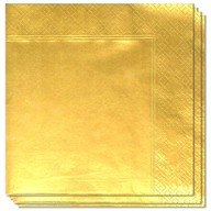 Ubrousky zlaté 20ks 3-vrstvé 33cm x 33cm