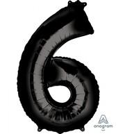 Balónek foliový narozeniny číslo 6 černý 86 cm