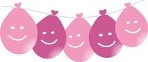 Balonky smajlík visící 5ks mix růžové