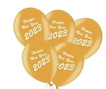 Balónky Happy New Year 2020 mix 5ks černé a zlaté balónky