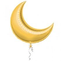 Foliový balonek měsíc zlatý 74 cm x 64cm