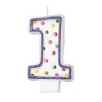 Svíčka na dort číslo 1 s puntíky