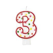 Svíčka na dort číslo 3 s puntíky