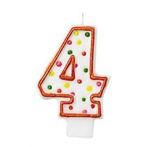 Svíčka na dort číslo 4 s puntíky