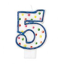 Svíčka na dotrt číslo 5 s puntíky