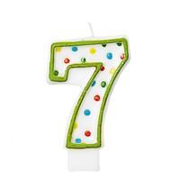 Svíčka na dort číslo 7 s puntíky