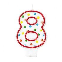 Svíčka na dort číslo 8 s puntíky