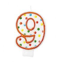 Svíčka na dort číslo 9 s puntíky